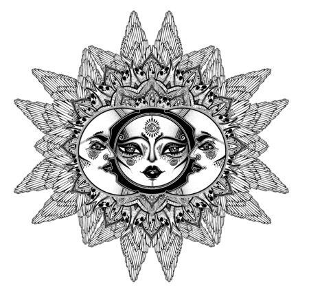 Tribal symbolic sun eclipse with winged crecsent frame moon with human face decoration, folk print.