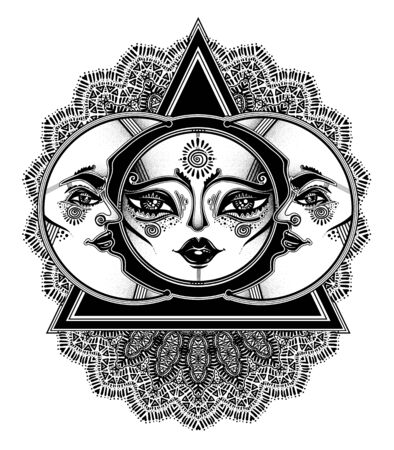 Tribal symbolic sun eclipse with crecsent moon with human face within decorative ornament, folk print. Çizim