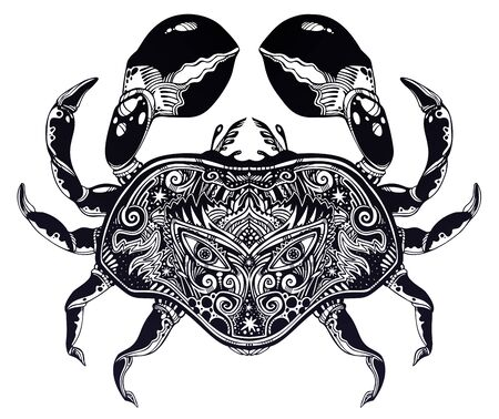 Highly detailed tribal wild bohemian Crab sea shellfish in ornament flash tattoo style with sacred eye.