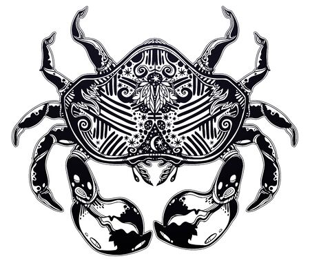 Highly detailed tribal wild bohemian Crab sea shellfish in ornament flash tattoo style with stars, moon. Illustration