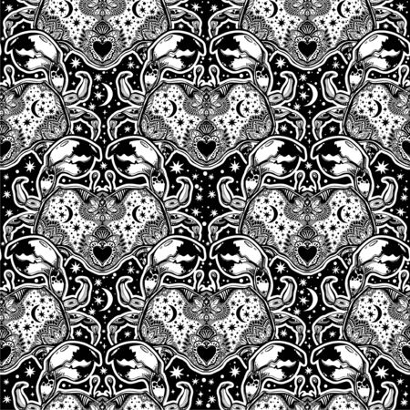 Seamless pattern tribal wild bohemian Crab sea shellfish in ornament flash tattoo style with heart.