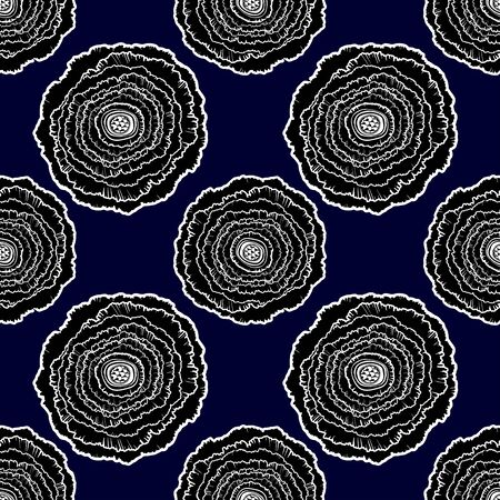 Naive rose flower seamless pattern. Decorative summer background for fabric. . Çizim