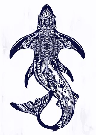 Wild shark dangerous sea fish in indigenous Polynesian style.