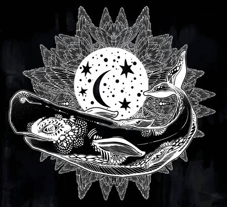 Highly detailed surreal wild sperm whale dangerous sea animal in geometric style with winged rounded frame ornament. Ilustrace