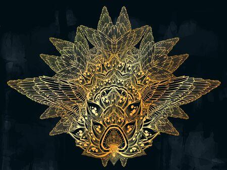 Mehndi winged lotus flower complex ornament pattern. Decoration in ethnic spiritual, boho style. Illustration