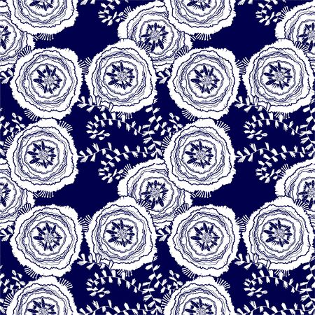 Naive rose flower seamless pattern. Decorative summer background for fabric. . Ilustrace