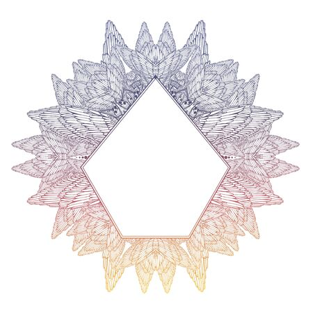 Mehndi winged linear complex ornament frame. Decoration in ethnic spiritual, boho style. Ilustrace