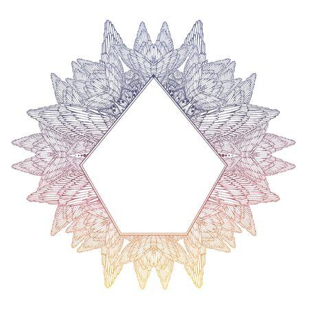 Mehndi winged linear complex ornament frame. Decoration in ethnic spiritual, boho style. Illustration