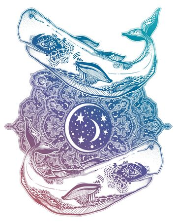 Highly detailed tribal wild sperm whale sea animal beast with sacred geometry stars and moon mandala ornament. Çizim