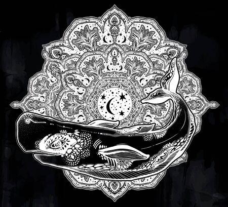 Highly detailed tribal wild sperm whale sea animal beast with sacred geometry stars and moon mandala ornament. Ilustrace