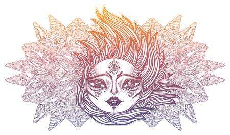 Decorative winged sun star with a human face in ornate rays as hair in the wind decoration, folk print. Ilustrace