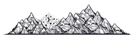 Night landscape with range of mountains, stars and moon. Vector illustration isolated. Retro travel hiking print design, vintage outdoors nature. Adventure artwork for camping and wanderlust tattoo.