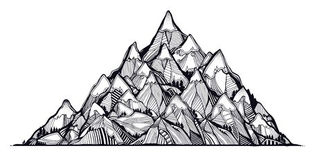 Wilderness landscape with range of beautiful mountains. Vector illustration isolated. Retro travel and hiking print design, vintage outdoors nature. Adventure artwork for camping wanderlust tattoo.  イラスト・ベクター素材