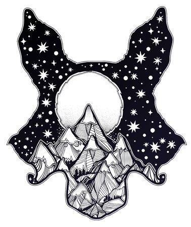 Folk magic wolf or raccoon dog beast with a mountain range double exposure. Illustration