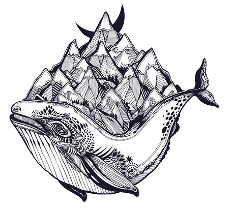 Decorative dreamy surreal whale sea animal beast carrying mountain range on its back. Ilustrace