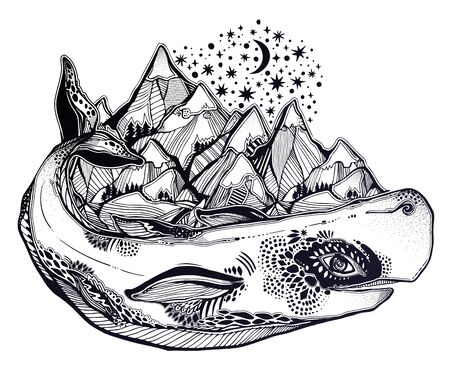 Mythology magic spiritual wild sperm whale sea animal beast carrying mountain range on its back. Ilustrace