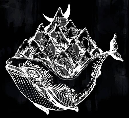 Decorative dreamy surreal whale sea animal beast carrying mountain range on its back. Illustration