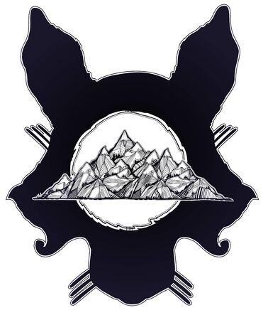 Folk magic wolf or raccoon dog beast with a mountain range double exposure. Ilustrace
