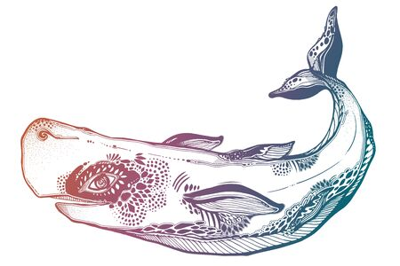 Highly detailed tribal wild sperm whale dangerous sea animal in geometric style. Çizim