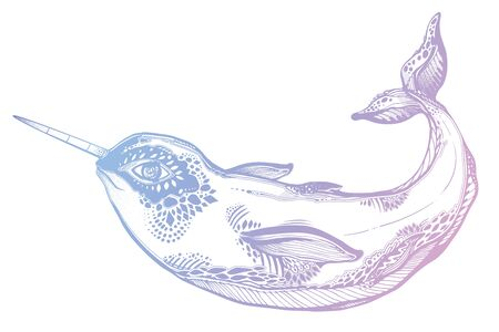 Highly detailed tribal wild narwhal whale sea animal in geometric style. Sea unicorn.