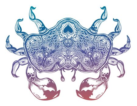 Highly detailed tribal wild bohemian Crab sea shellfish in ornament flash tattoo style with heart.