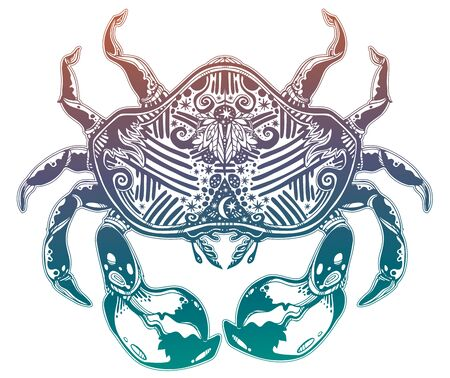 Highly detailed tribal wild bohemian Crab sea shellfish in ornament flash tattoo style with stars, moon. Çizim