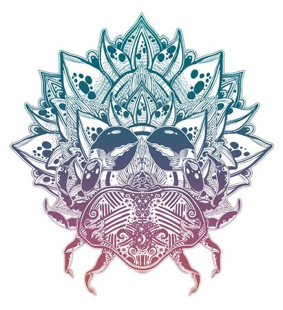 Horoscope zodiac cancer sign with lotus flower.