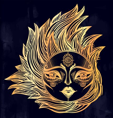 Bohemian tribal sun star with a human face in ornate rays as hair in the wind decoration, folk print. Illustration