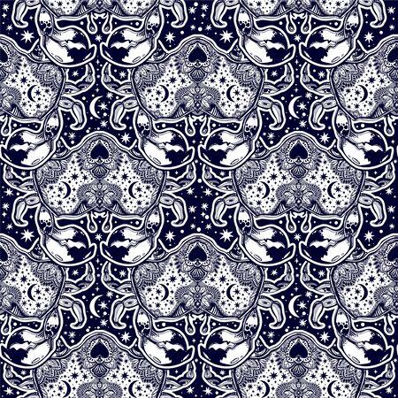 Seamless pattern tribal wild bohemian Crab sea shellfish in ornament flash tattoo style with heart.