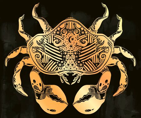 Highly detailed tribal wild bohemian Crab sea shellfish in ornament flash tattoo style with stars, moon. Ilustrace
