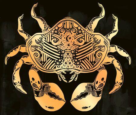 Highly detailed tribal wild bohemian Crab sea shellfish in ornament flash tattoo style with stars, moon. Иллюстрация