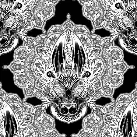 Folk magic jackalope beast with sacred geometry stars and moon ornament seamless pattern. Иллюстрация