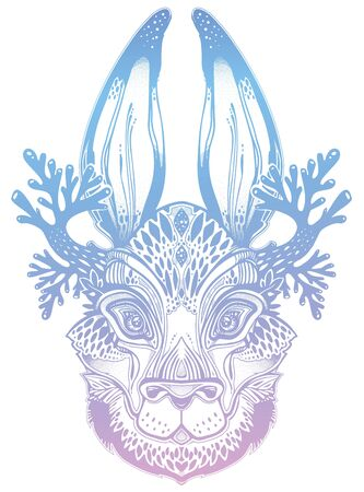 Folk magic jackalope beast. Ideal vintage folklore creature, tattoo art, boho design. Иллюстрация