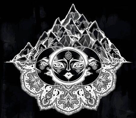 Tribal symbolic sun eclipse with crecsent moon with human face decoration, folk print on mountain range background. Ethnic magic tattoo art. Isolated vector illustration. Spiritual alchemy symbol.