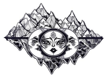 Tribal symbolic sun eclipse with crecsent moon with human face decoration, folk print on mountain range background. Ethnic magic tattoo art. Isolated vector illustration. Spiritual alchemy symbol.