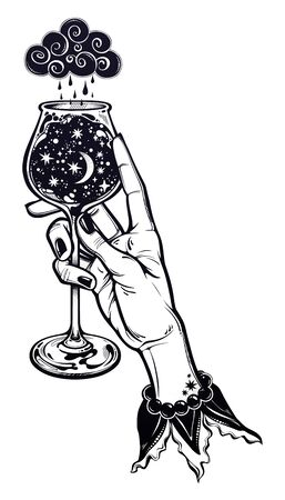 Elegant female hand holding a night rain in a cup. Surreal magic tall wine glass with starry cosmos. Illustration
