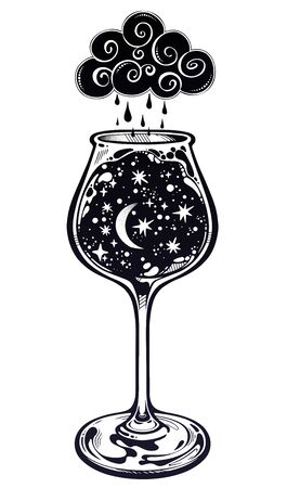A night storm in a cup. Surreal magic hand drawn tall wine glass with starry cosmos. Space with crescent moon and rain cloud. Isolated vector illustration. Magic and surreal art. Ilustracja