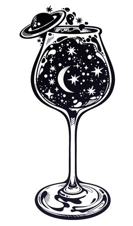 A universe in a glass. Surreal magic hand drawn tall wine glass with starry cosmos. Space with crescent moon and Saturn on a side. Isolated vector illustration. Magic and surreal art.