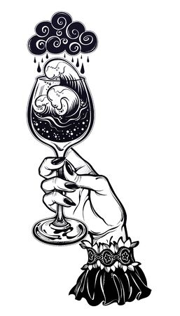Elegant female hand holding a storm in a glass. Surreal magic hand drawn tall wine glass with sea water waves and beautiful splash. Isolated vector illustration. Magic and surreal art.