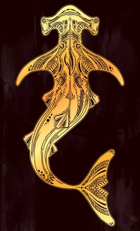 Ornate tribal wild Hammerhead shark dangerous sea fish in indigenous Polynesian style.