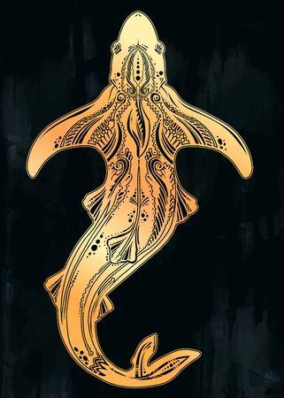 Ornate tribal shark sea fish in indigenous Polynesian style.