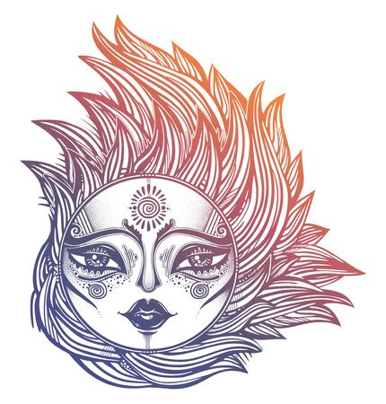 Bohemian tribal sun star with a human face in ornate rays as hair in the wind decoration, folk print. Ethnic tattoo art. Isolated vector illustration. Trendy T-shirt print. Spiritual alchemy symbol. Illustration
