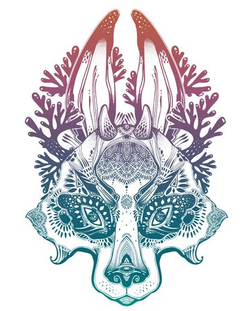 Folk magic jackalope beast. Ideal vintage folklore creature, tattoo art, boho design. Ilustracja