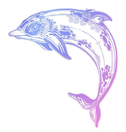 Decorative tribal swimming wild dolphin, fun sea animal in geometric style. Zdjęcie Seryjne - 137321001
