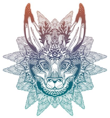 Folk magic jackalope beast with third eye with winged linear rounded frame ornament. Illustration