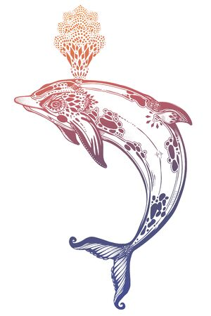 Decorative tribal swimming wild dolphin, fun sea animal in geometric style making water spout. Illustration