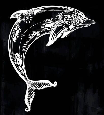 Decorative tribal swimming wild dolphin, fun sea animal in geometric style. Illustration