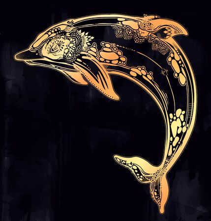 Decorative tribal swimming wild dolphin, fun sea animal in geometric style. Ilustracja