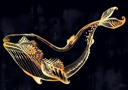 Decorative tribal swimming wild Blue or Humpback whale, large sea animal in geometric style.