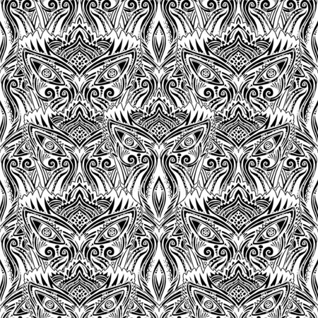 All-seeing folk sacred eye seamless pattern.